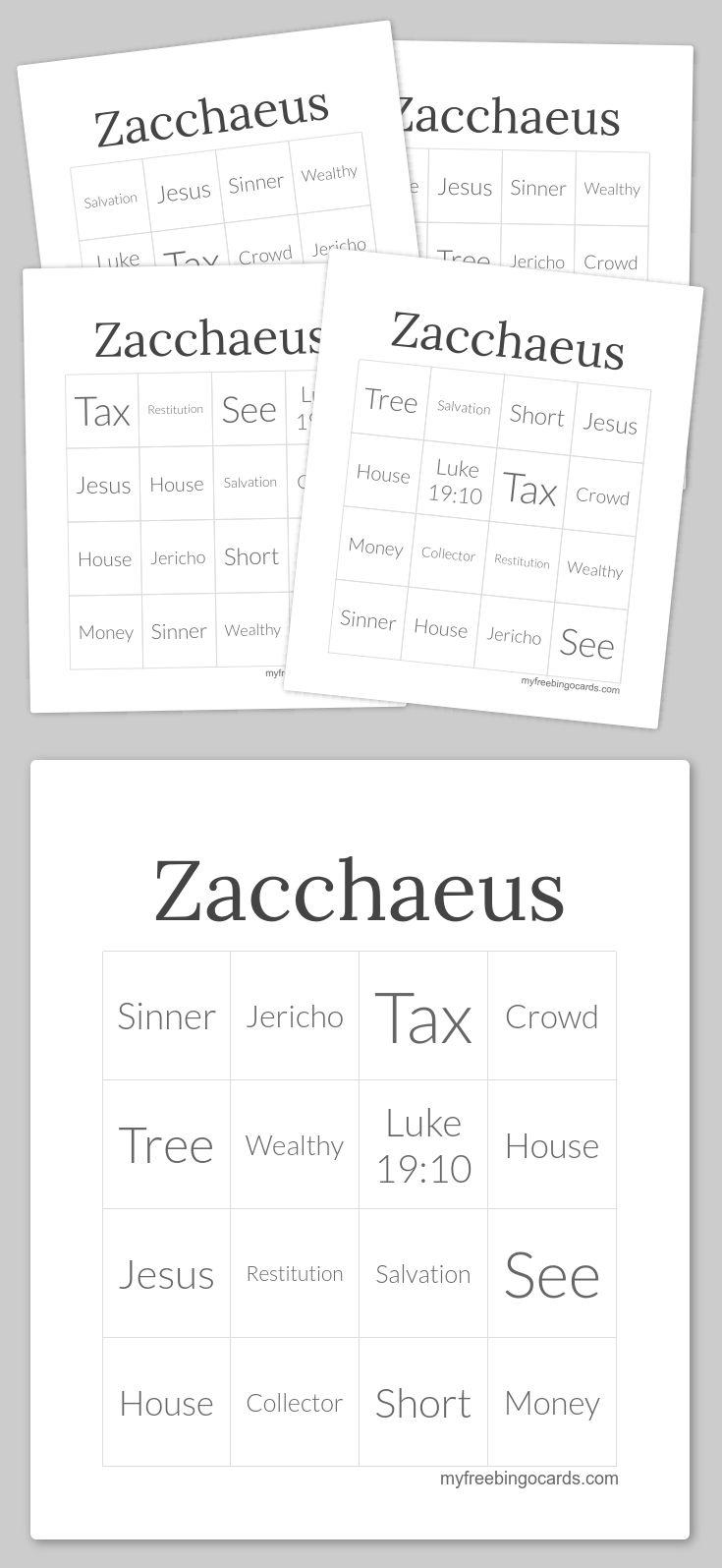 Zacchaeus Bingo