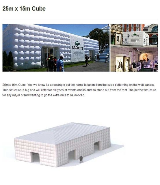 #25m X 15m #CUBE  #Inflatable #Temporary #Structure #Events http://www.brandinteractivation.com/