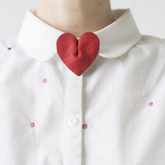 Leather heart pin.