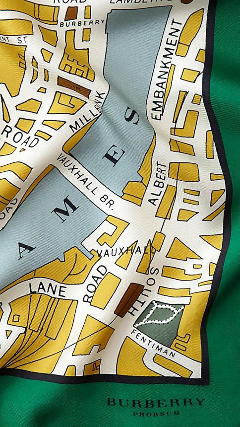 London Map Print Silk Square - Medium   Burberry