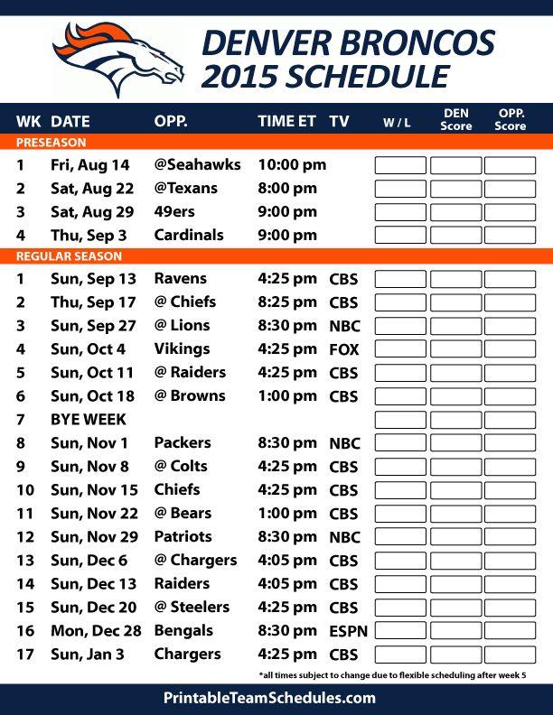 Denver Broncos 2015 Schedule. Printable version here: http://printableteamschedules.com/NFL/denverbroncosschedule.php