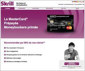 Skrill MoneyBookers – Mastercard prépayée à 10 euros par an avec shopping et rechargement gratuit.