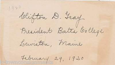 CLIFTON GRAY BATES COLLEGE PRESIDENT MAINE VINTAGE AUTOGRAPH SIGNATURE CLIPPING