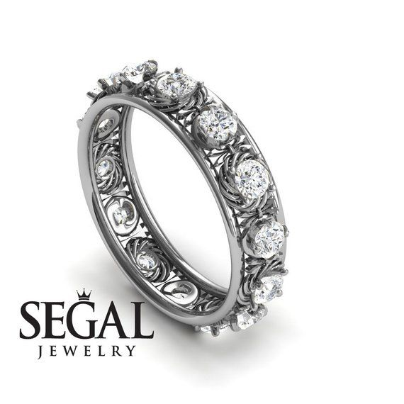 Anniversary Ring 14k White Gold Vintage Art Deco Edwardian Ring