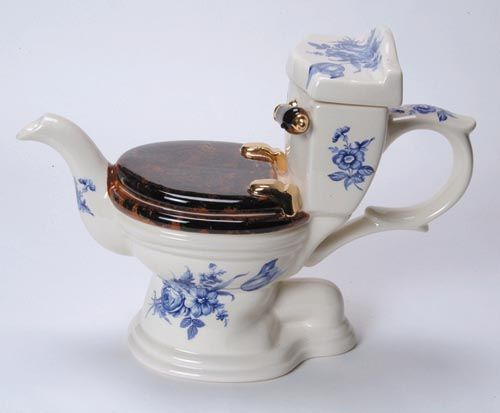 This weird teapot comes from Tony Carter's collection. I don't think I could ever drink anything from this teapot.