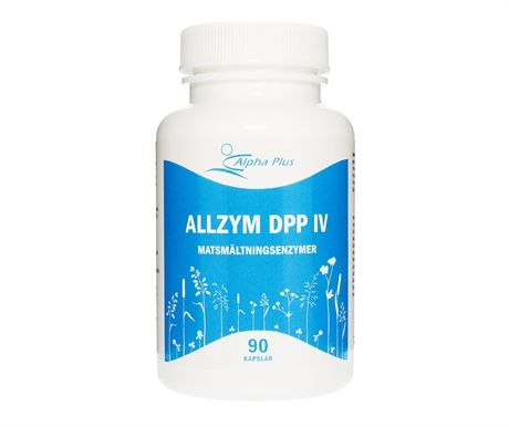 AllZym DPP IV är ett allsidigt enzymtillskott som innehåller alla de viktigaste matsmältningsenzymerna för nedbrytningen av kolhydrater, protein och fett. AllZym DPP IV har positiva egenskaper vad gäller nedbrytning av kosten och skapar en balans när det gäller upptagning av de näringsämnen som kroppen behöver för att uppnå optimal hälsa och vitalitet. Dosering: 1-3 kapslar med varje måltid eller enligt rekommendation.