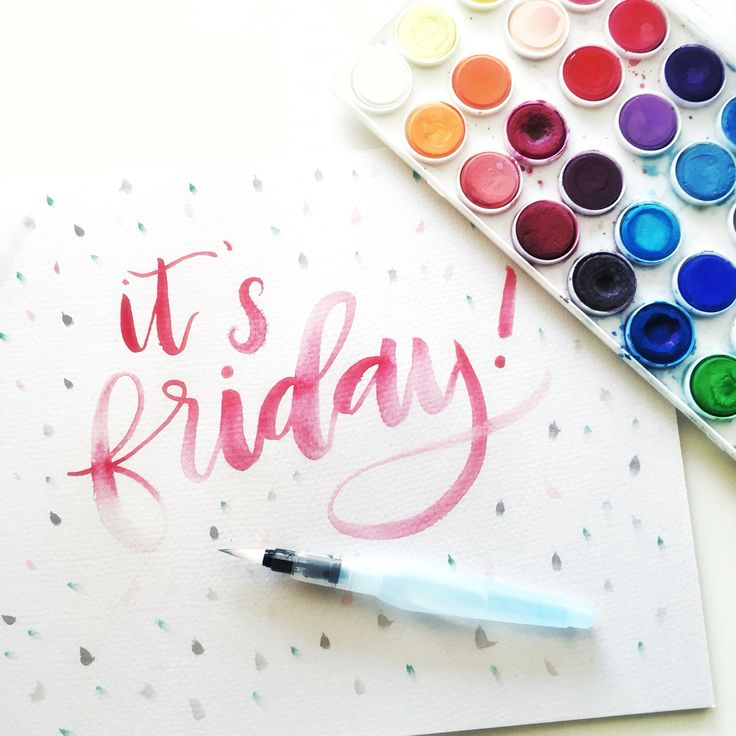 Happy Friday! Pentel water brush with watercolor. | Hey Love Designs