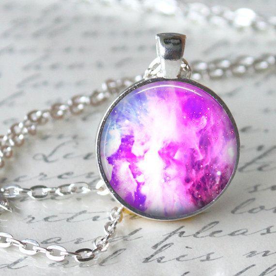 NEBULA Pendant Necklace Galaxy Universe by LiteraryArtPrints