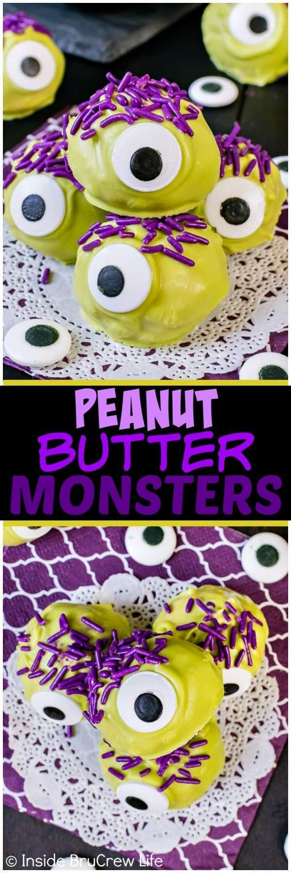 Peanut Butter Monsters - big candy eyes, green chocolate, and purple sprinkles turn these candies into a fun treat. Easy no bake recipe for halloween parties! #peanutbutter #halloween #candy #nobake