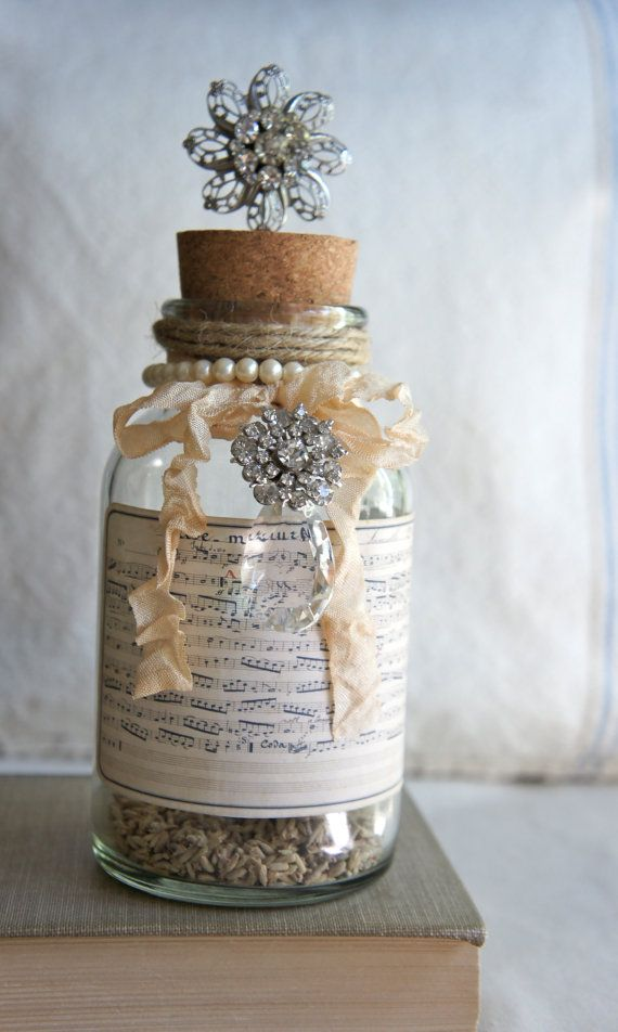 Decorative bottle with french music label vintage jewelry accents repurposed bottle decor bottle decorated bottle by My Sweet Maison