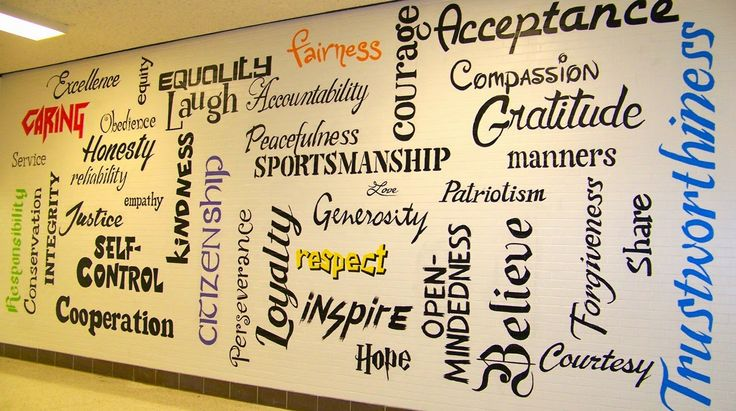"""love the """"character cloud"""" painted on the school wall! (Excellence A Hallmark)"""