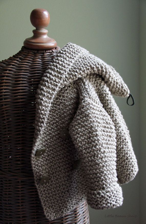 hand knitted baby cotton sweater coat