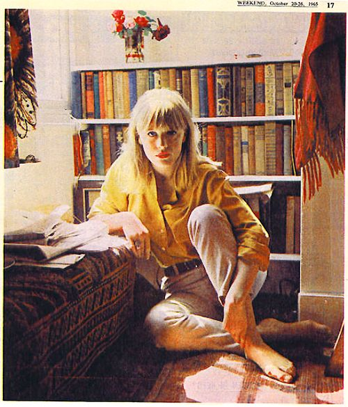 Rare photo of Marianne Faithfull at home in The Weekend newspaper   1965   Colour correction by Faithfull Forever
