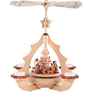 1-tier pyramid Gift Giving natural wood (36x31x31cm/14x12x12in)ch by Zeidler Holzkunst. Traditional German Christmas decoration.