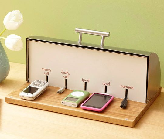 DIY breadbox charging station. For all the gizmos.Gadgets, Breadbox, Breads Boxes, Bread Boxes, Home Offices Storage, Cool Ideas, Diy, The Breads, Charging Stations
