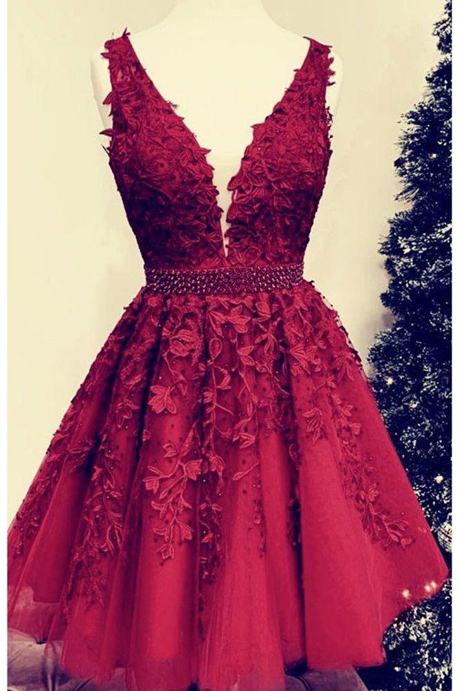 Vestiti Eleganti Junior.Amazing Junior Homecoming Gown Dark Red Lace Short Prom Dresses