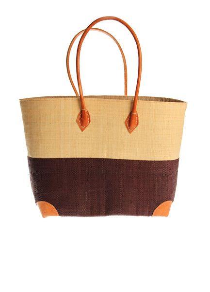 Half Brown Woven Raffia Bags