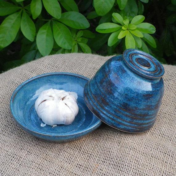 Garlic roaster baker dish hand thrown stoneware