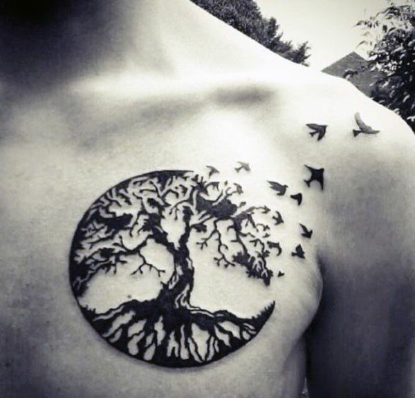 Brids Flying From Oak Tree Circular Tattoo On Chest For Males #tattoosonneckarticles #treetattoosonneck