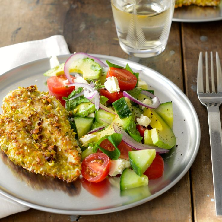 Gluten-free sesame and pistachio chicken schnitzel is a great easy weeknight dinner. Serve with this Turkish salad for a healthy dinner everyone will love.