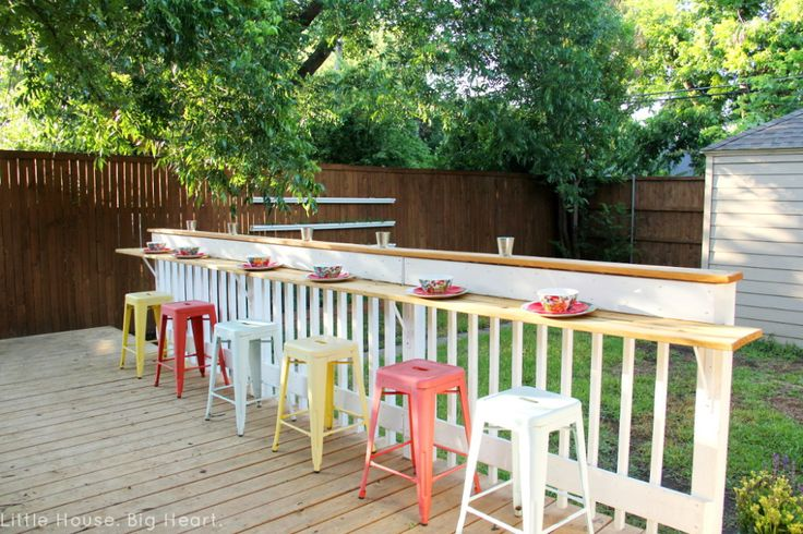 We finally, finally finished the bar rail (and it only took us a year and a half to get to it)!  We've already had a party with it (for my birthday) and it was awesome to have a second seating/conv...