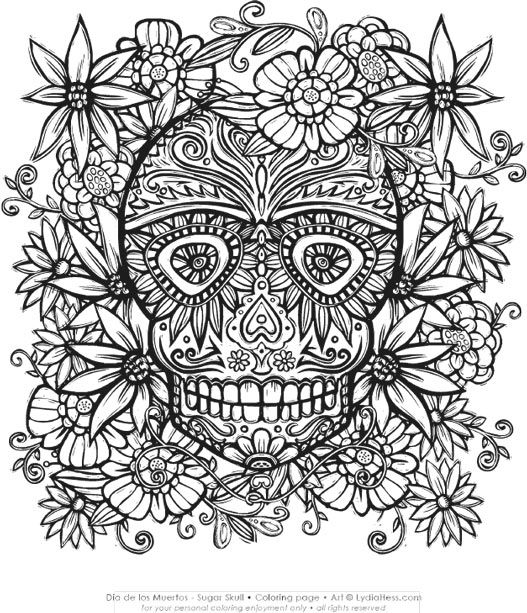 466 best day of the dead images on pinterest sugar for Sugar skull mandala coloring pages
