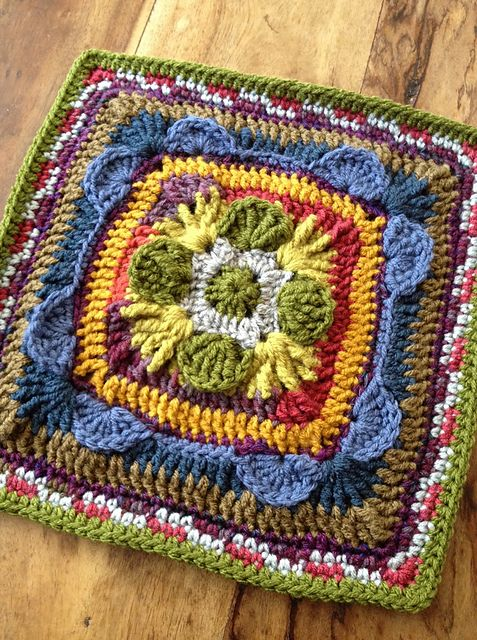 """Ravelry: chitweed's Beware the Ides of March 12"""" Afghan Crochet Block Square. Free crochet square pattern by Margaret MacInnis. Notes on this project."""