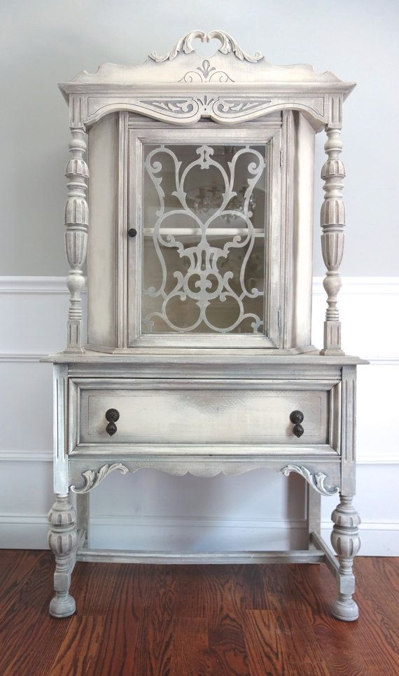 SOLD!!! CUSTOM FINISH for Anh - Antique Jacobean Hand Painted Cottage Chic Shabby Antique White Grey Cupboard China Hutch / Display Cabinet