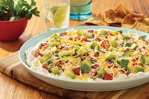Layered Mexican Spread - cream cheese, salsa, cheese & avocado!