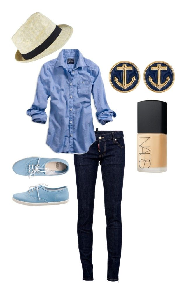 need my big earrings though! ^^: Casual Outfit, Nautical Outfit, Style, Clothing, Anchors Earrings, Tom Shoes, Anchor Earrings, Casual Looks, Nautical Fashion