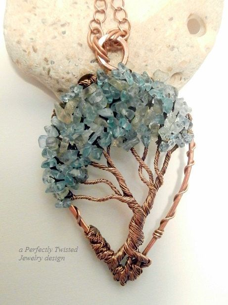 Wire Wrapped Bonsai Tree of Life Pendant, Aqua Marine and Labradorite, Handmade Wire Jewelry, Antiqued Copper, Wire Tree Jewelry