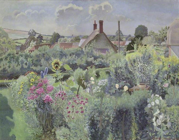 Image result for Gilbert Spencer Cottage Garden at Compton Abbas