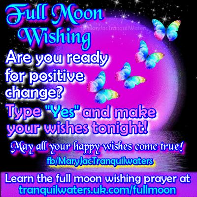 🌕 🌿 💙   FULL MOON WISHING - It's a full moon tonight.  ⭐ To find the Full Moon WISHING PRAYER CLICK HERE ➡   💙🌿🌕  http://www.tranquilwaters.uk.com/fullmoon  🌕🌿💙     💎 The WISHING PRAYER helps you to ask for all that you may be wishing for at this time ….. And remember, too, that it is a great opportunity for you to charge your crystals in the moonlight!     🌕 🌿 💙 💎 🌕 🌿 💙 💎 🌕 🌿 💙 💎 🌕 🌿 💙 💎   #fullmoon #wish #luck #prayer