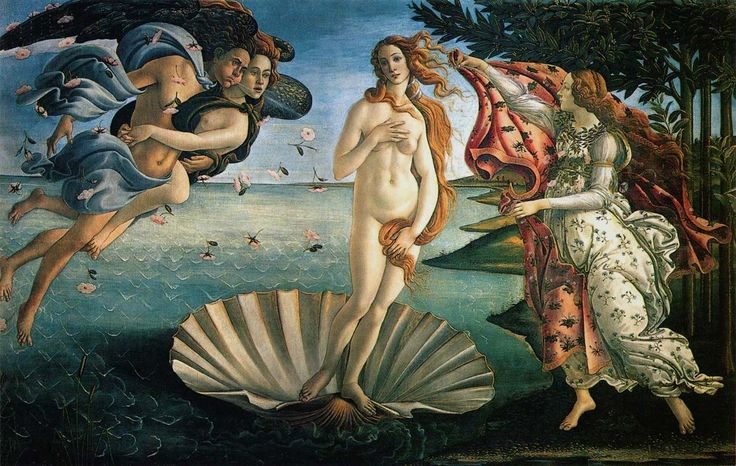 The Birth of Venus (1486) by Italian Renaissance painter Sandro Botticelli highlights the mythical and classical themes that were popular at this time. http://www.sandrobotticelli.net/