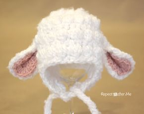 Crochet Lamb Hat Pattern - Repeat Crafter Me