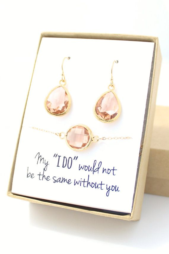 Peach Champagne / Gold Teardrop Earring and Round Bracelet Set - Bridesmaid Earring and Bracelet Set - Bridesmaid Jewelry Set - EBB1