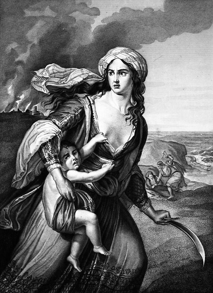 La madre greca di Missolungi,  Giovanni Berselli, inizi del XIX secolo,  Acquaforte e bulino, Musei Civici di Reggio Emilia