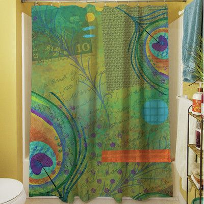 Features:  -Peacock Pattern collection.  -Material: 100% Polyester.  -Easy care machine wash and dry.  -Printed in the USA.  Product Type: -Shower curtain.  Color: -Blue/Green.  Material: -Polyester.