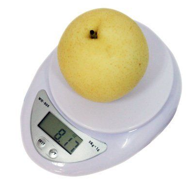 """5Kg x 1g Digital Kitchen Scale Diet Food Compact Kitchen Scale 11lb x 0.04oz by LGP. $3.06. Specifications  Dimensions : 5"""" x 6.5"""" x 1.25"""" Capacity: 7Kg/7000g/15lbs Readability : 1g/0.035oz Weighing Modes g/oz/lb Platform4.25"""" Tare Range : Tare full capacity Auto Power Off2 Minutes Display : LCD Power : AAA x 2 (included)"""