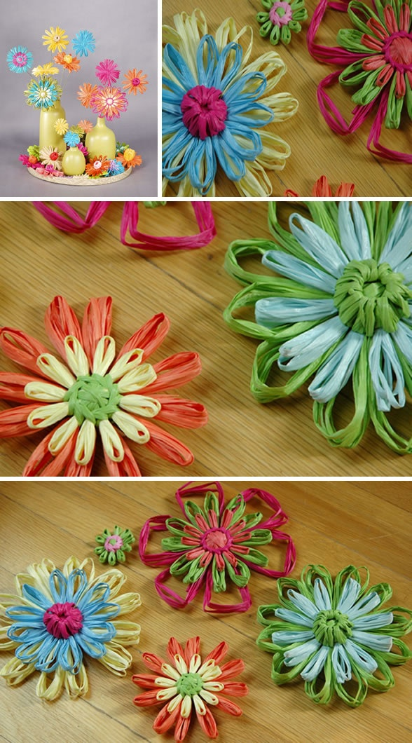 Raffia Flowers- for mother's day!                                                                                                                                                                                 More