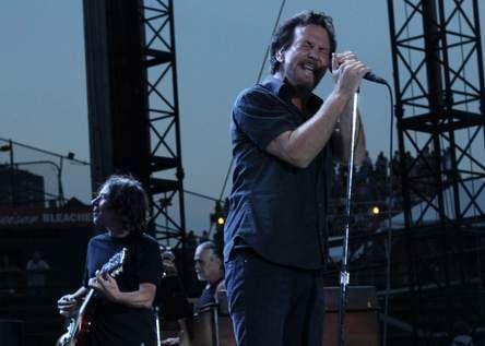 Eddie Vedder (right) Stone Gossard Pearl Jam concert July 19 2013 Wrigley Field.