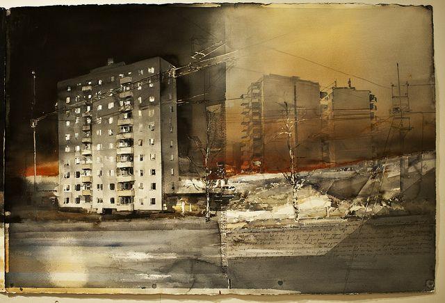 Akvarell av Lars Lerin