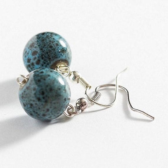 Dark Blue Ceramic Balls Earrings Dangle Simple Round by MaddaKnits
