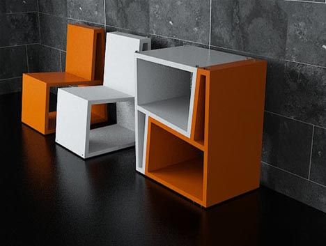 // bi chair by flemento Diseno. Gain de place, emboitement des chaises. Double fonction.