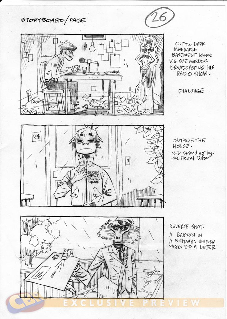 Gorillaz storyboard - Comic Book Resources