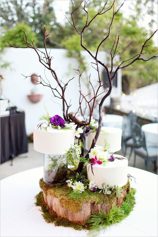 Enchanted forest or midsummer nights dream wedding inspiration. Woodland themed centrepiece