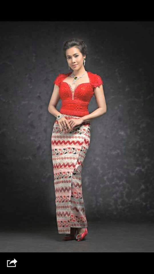 Red Myanmar dress
