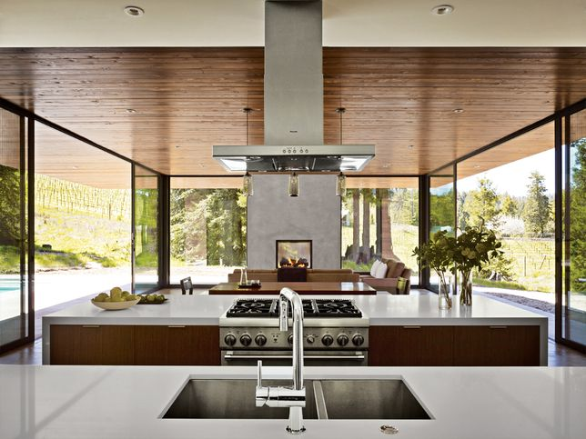 I would love to be surrounded by floor to ceiling windows in my kitchen! Plus great Thermador appliances...