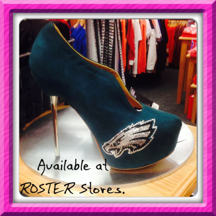 Ladies, be fab-YOU-lous in these Eagles shoes available at ROSTER in Cherry Hill Mall or Philadelphia!  #Eagles #Football #Ladies #shoes #Roster #FootballStyle