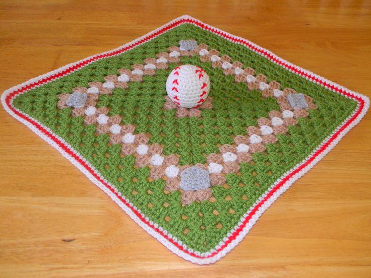 Adorable crochet baseball themed baby blakie